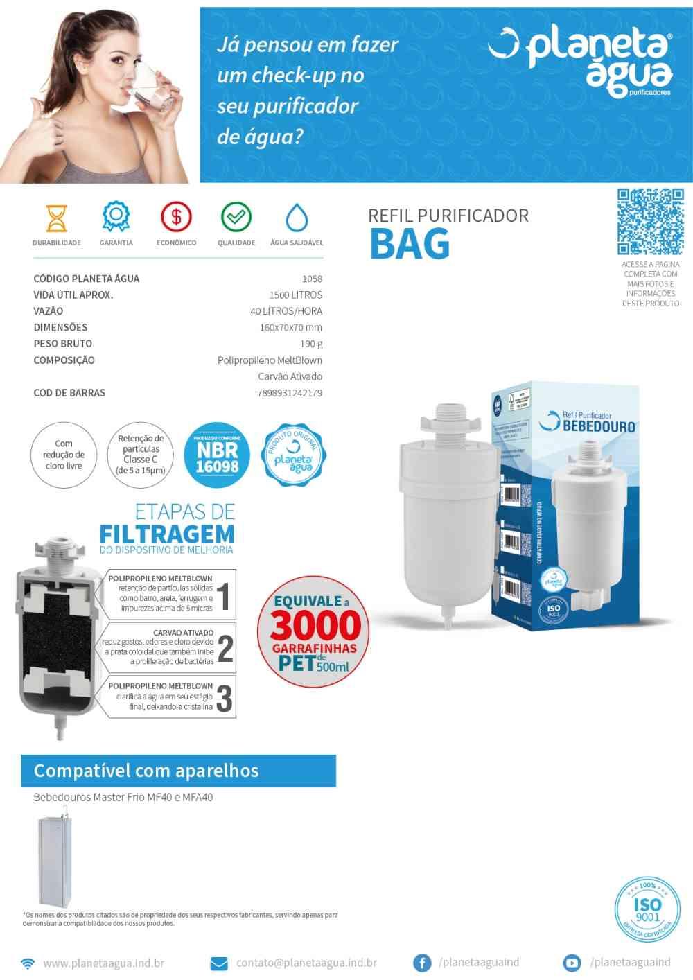 Refil Filtro Bebedouro Bag com Carvão Ativado -Planeta água