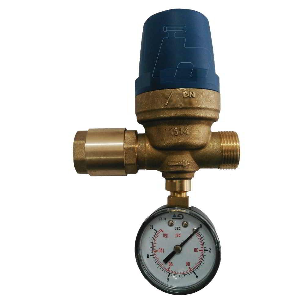 """Regulador Pressão D'água 3/4"""" Macho + retenção de agua e Manômetro"""