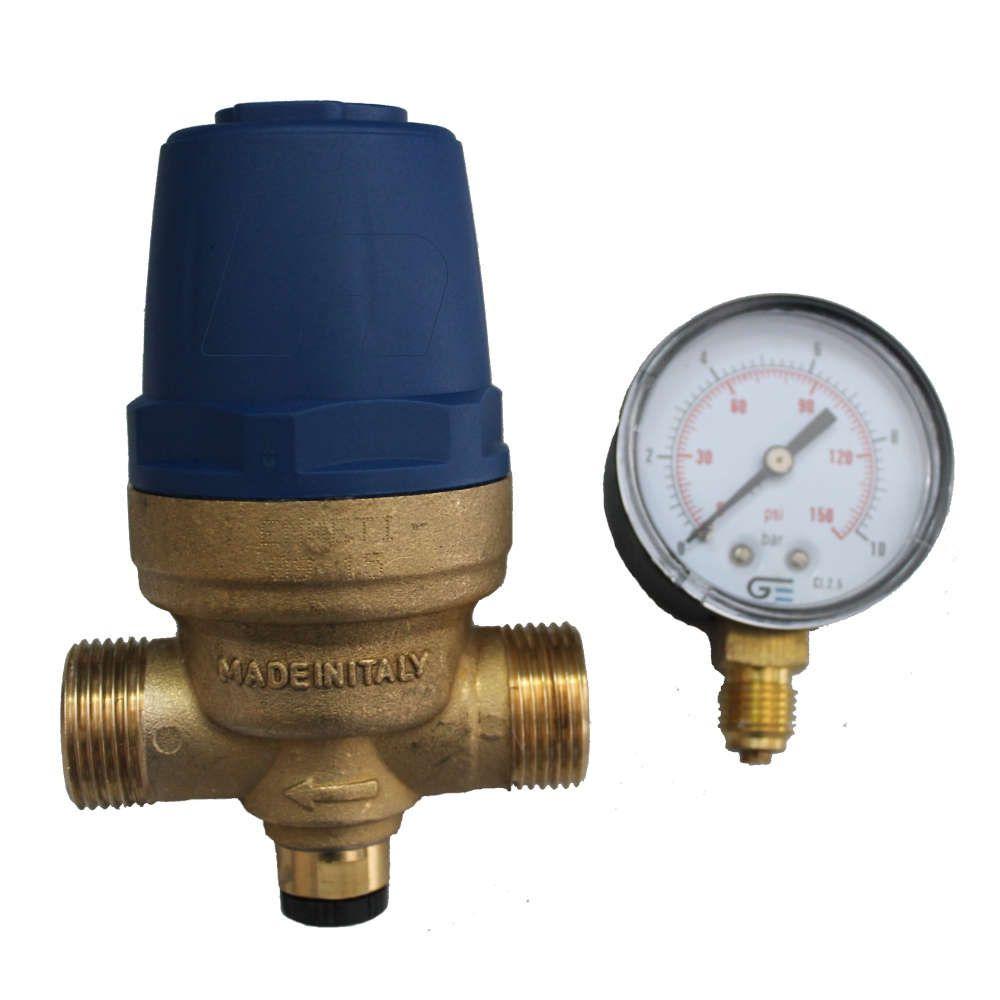 """Regulador Pressão D'água 3/4"""" Macho bloqueador de ar e Manômetro"""