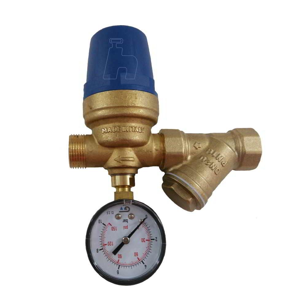"""Regulador Pressão D'água 3/4"""" Macho Filtro e Manômetro"""