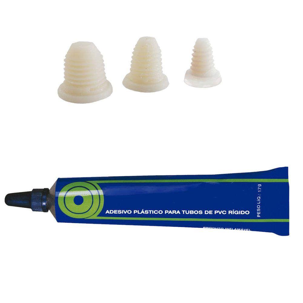 Tapa Furo Tubo PVC 3 peças com adesivo- Hidrofer