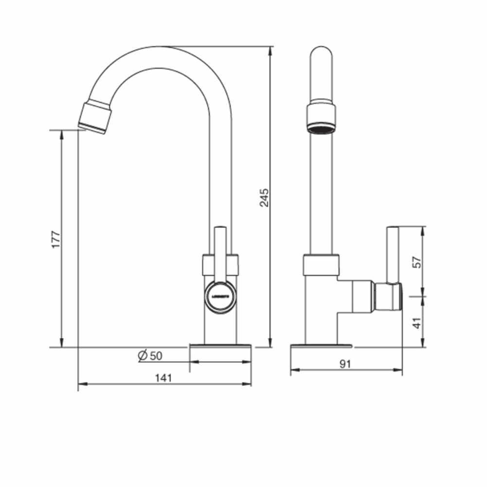 Torneira Lavatório bica alta 1/4 Volta 1195 C31-Lorenzetti