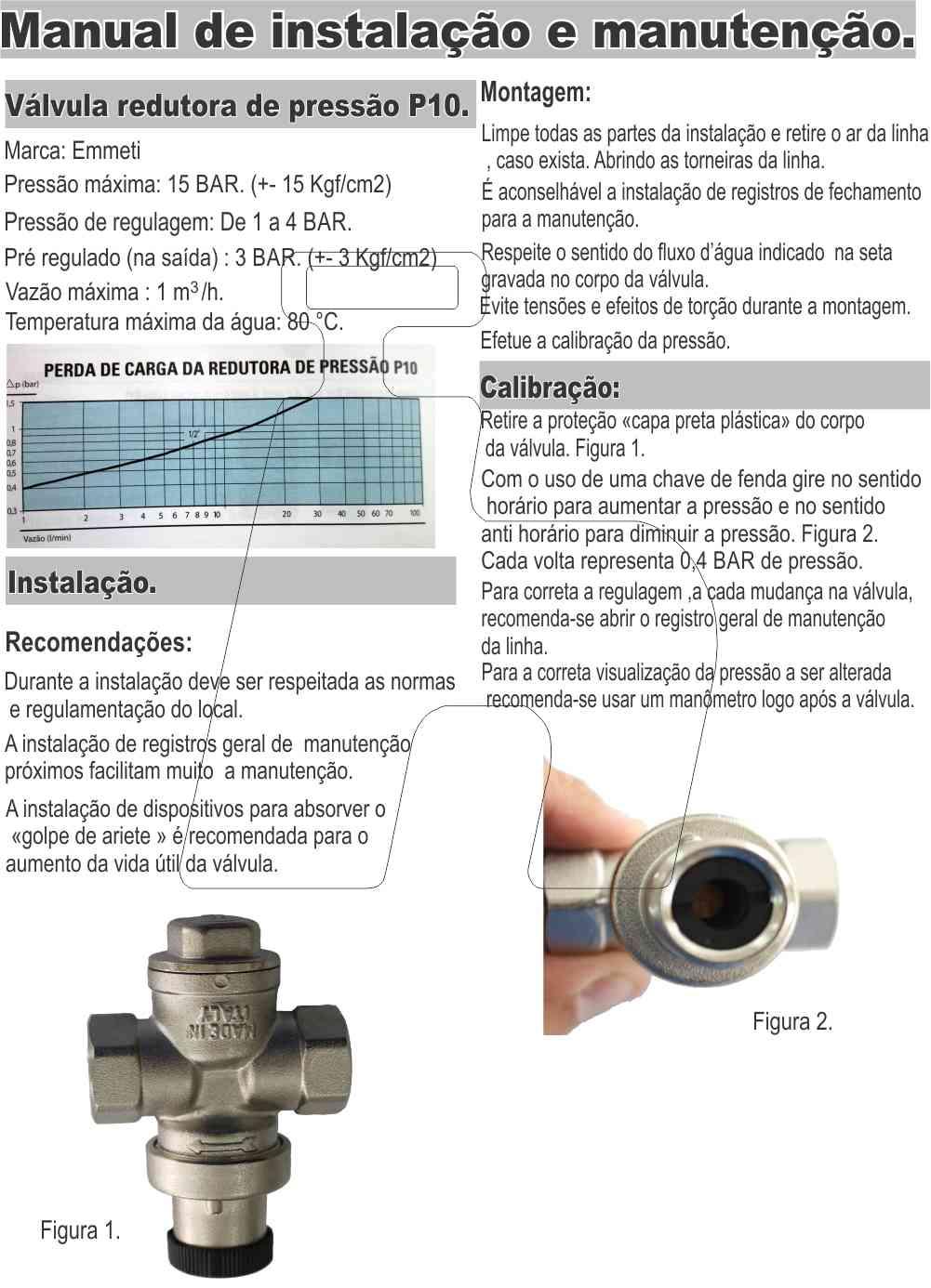 "Válvula Reguladora Pressão D'água 1/2"" Mini Emmeti"