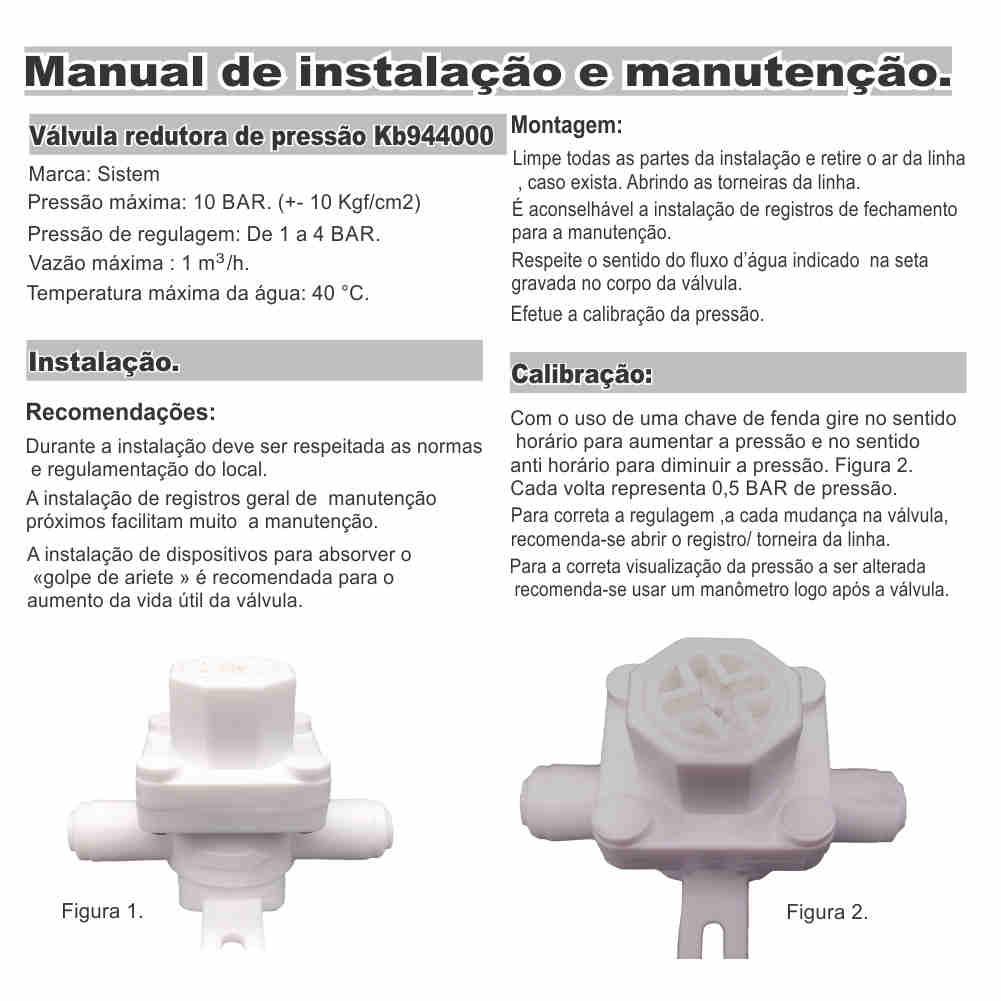 Válvula Redutora/reguladora Pressão Filtro Purificador Mangueira 1/4''