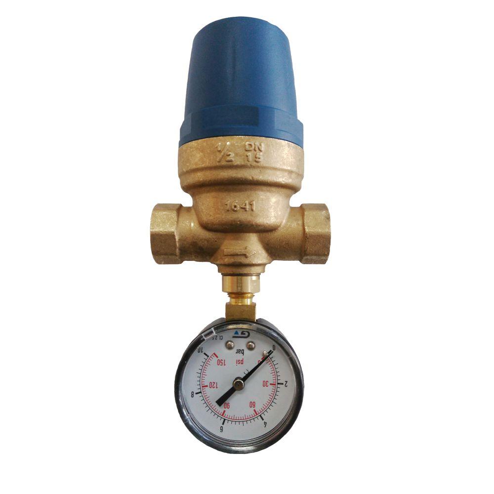 Válvula Reguladora  Pressão D'água 1/2' Fêmea e Manômetro