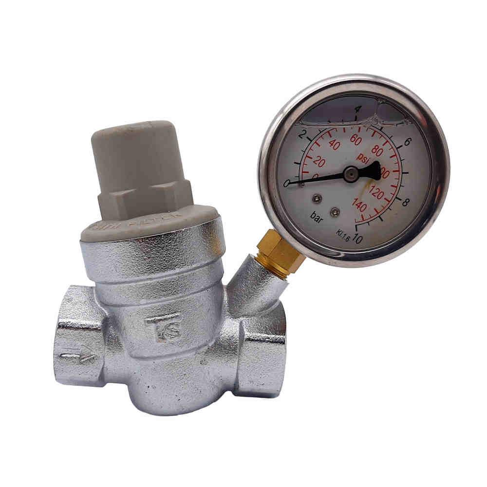 "Válvula Reguladora Pressão D'água 3/4"" c/ manômetro Blukit"