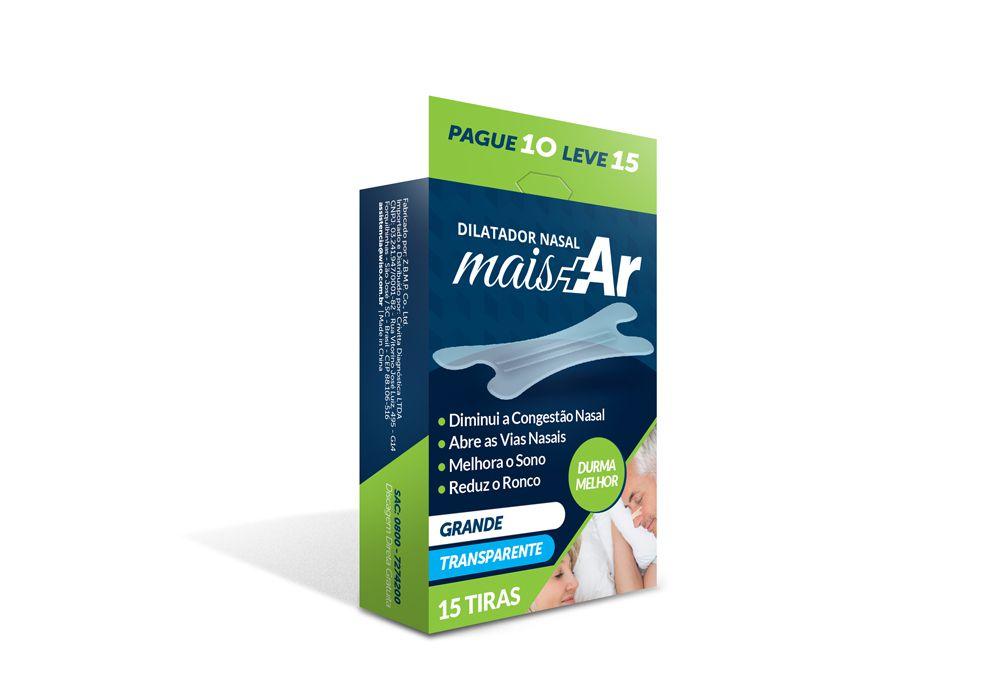 Dilatador Nasal Mais Ar - Grande - Transparente - Caixa c/ 15 Unid