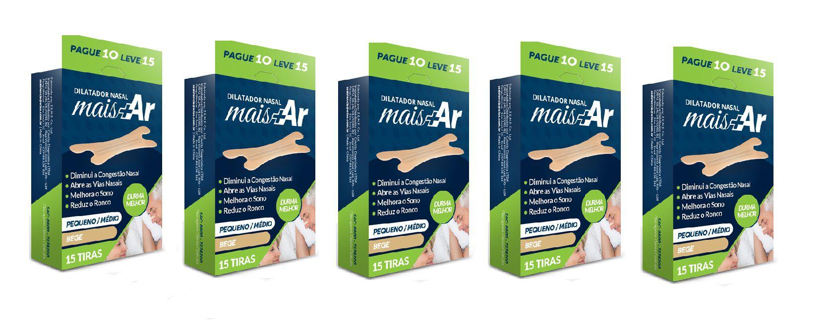 Pague 4 Leve 5 - Dilatador Nasal Mais Ar - Pequeno/Médio -  Bege - Caixa c/ 15 Unid