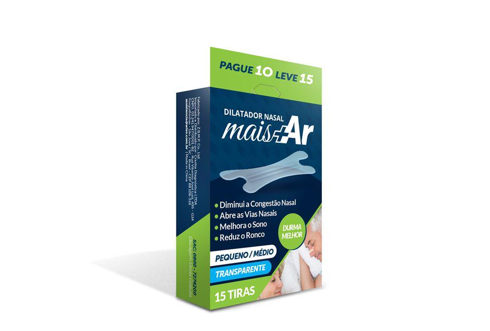 Combo 05 CX  - Dilatador Nasal Mais Ar - Pequeno/Médio - Transparente - Caixa c/ 15 Unid