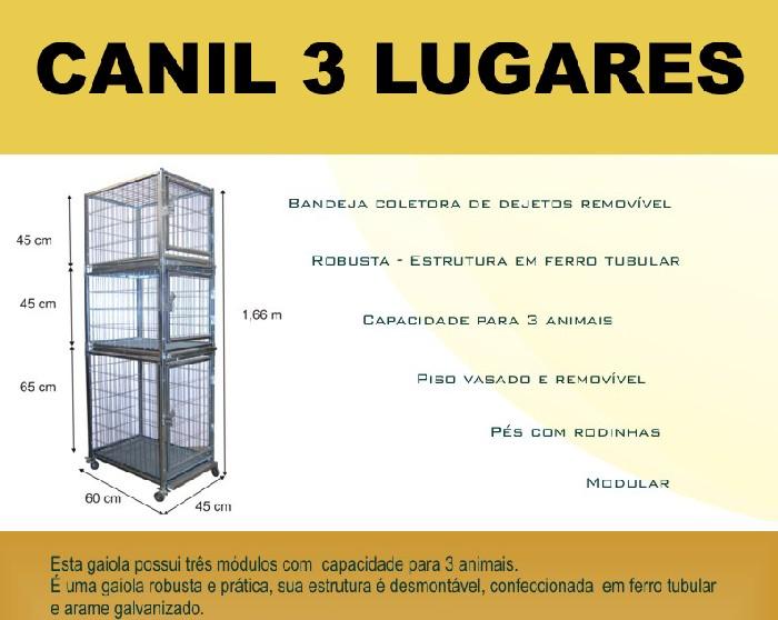 Canil Pequeno 3 Lugares - Desmontável  - ElanTrade Máquinas e Equipamentos para Estética Animal