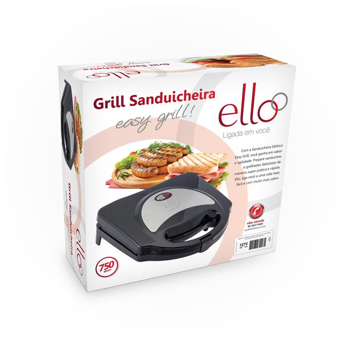 Sanduicheira Easy Grill - Inox / Preto - ESA110 - 127V - Ello  - ElanTrade Máquinas e Equipamentos para Estética Animal