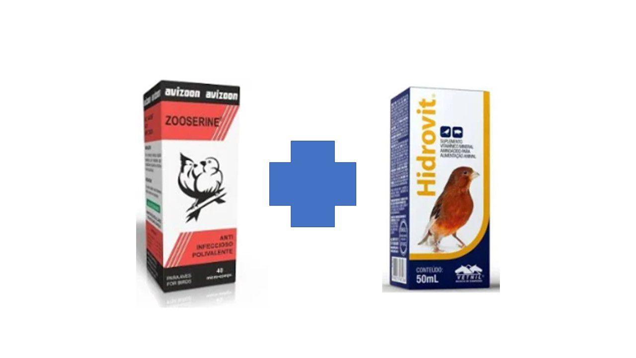 Kit Zoozerine - 40 micro pirolas - avizoon + Hidrovit  polimitaminico (melhor vitamina para o pos muda de penas)
