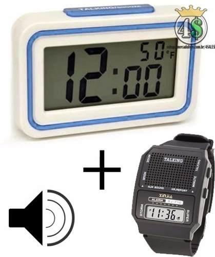 22bfa562d1b Kit Relógio Fala Hora Deficiente Visual Idoso Azul Lindo - For Sales ...