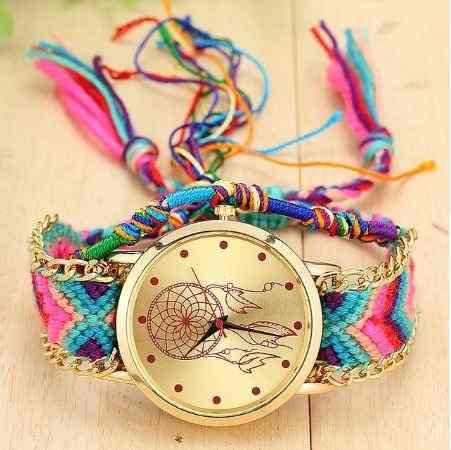 5f71dcecb0c Relógio Feminino De Corda Trançado Colorido Quarzt - Shop Perez