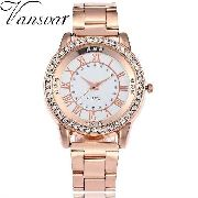 0c1f7872ecc ... Elegante Luxo Barato Cmk. Relógio Feminino Vansvar V135 Quartzo Rosa Aço  Inoxidável