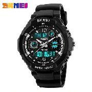 beaeed25ef6 Relógio Masculino Skmei 1060 Anadigi Preto E Branco Com Luz
