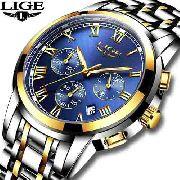 97adc5b1758 Relógio Masculino LIGE 9810 Cronógrafo Luxuoso Original