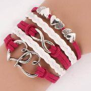 096990faff2 Pulseira Bracelete Rosa E Branco Com Corações