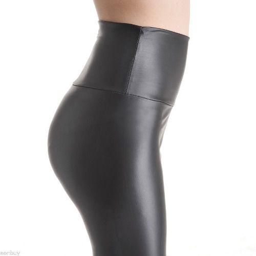 e89ec20f7 Calça Cintura Alta De Couro Elástico Feminino Skinny - Shop Perez