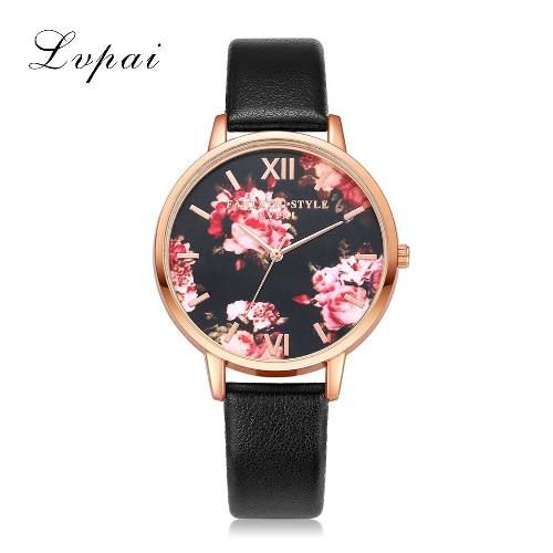b0e15bd9bd3 Relógio Feminino Pulseira De Couro Quartzo Rosas E Dourado - Shop Perez