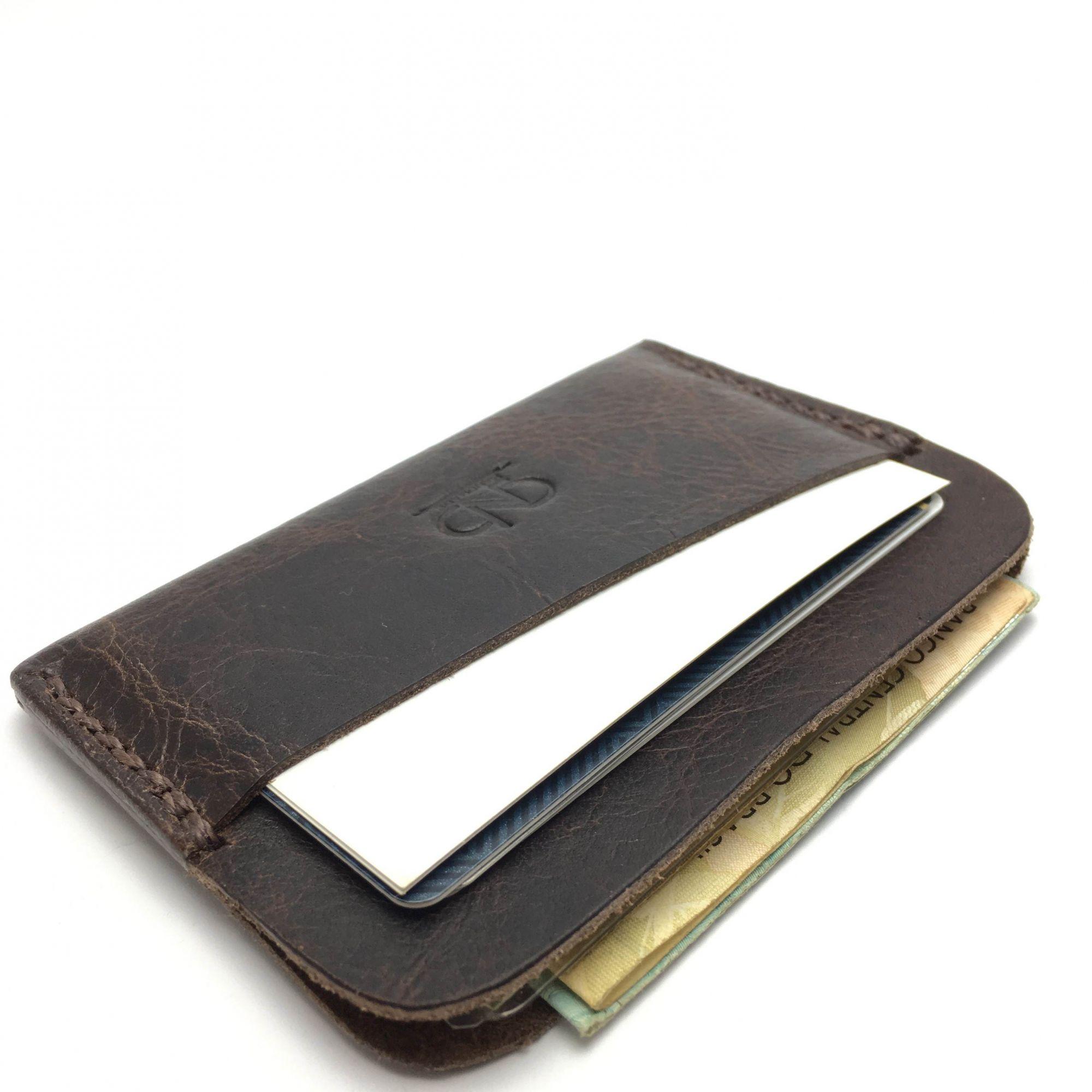 Carteira Porta Cartões Slim CNB Couro Legítimo Feito à Mão ... e28d34ce803