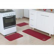 0f741ec43 Jogo de Tapete Para Cozinha 3 Peças Antiderrapante Bordado Cereja Oásis