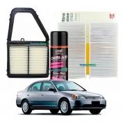 Filtro Ar Motor + Filtro De Cabine Civic 2001 ao 2005 + Spray Higienizador