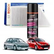 Filtro De Cabine Ar Condicionado Bosch Peugeot 206 207 + Spray Higienizador