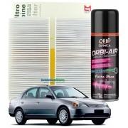 Filtro De Cabine Ar Condicionado Mahle MetalLeve Civic 2001 À 2005 + Spray Higienizador