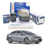 Kit De Filtros Bosch New Civic G9 2013 Ao 2016 Cabine Óleo Combustível