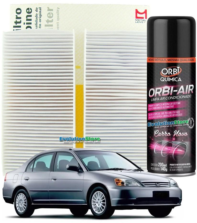 Filtro De Cabine Ar Condicionado Mahle MetalLeve Civic 2001 À 2005 + Spray Higienizador  - EvolutionStore - Peças e Acessórios Automotivos
