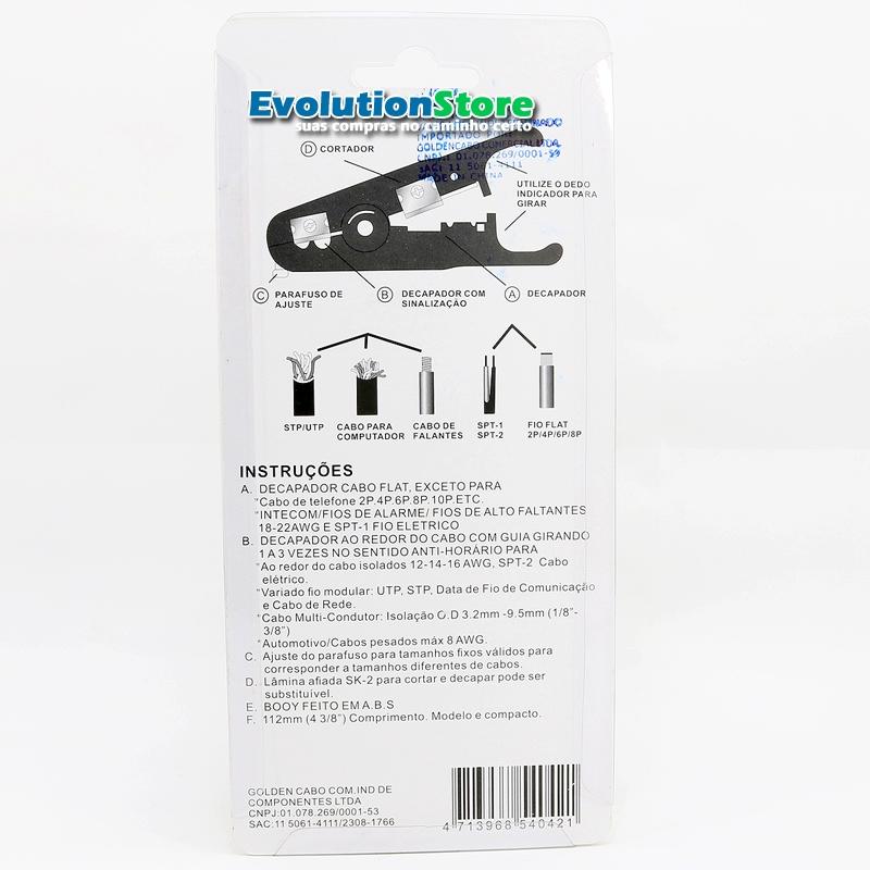 Kit Alicate Compressão + Decapador Crimpar Coaxial Rg6 Rg59 GC501  - EvolutionStore - Peças e Acessórios Automotivos