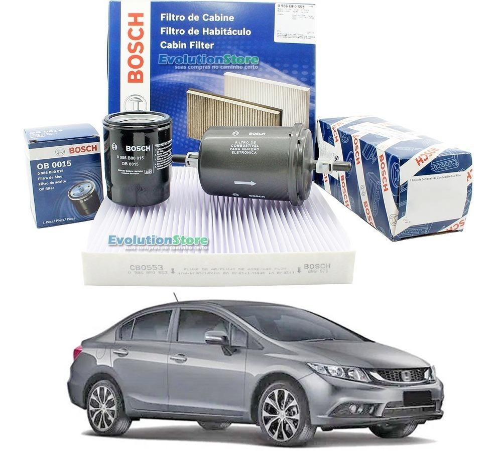 Kit De Filtros Bosch New Civic G9 2013 Ao 2016 Cabine Óleo Combustível  - EvolutionStore - Peças e Acessórios Automotivos