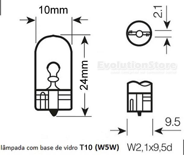 Lâmpada Comum 12v W5w Philips 12961 Pingo T10 Caixa 10 Unidades  - EvolutionStore - Peças e Acessórios Automotivos
