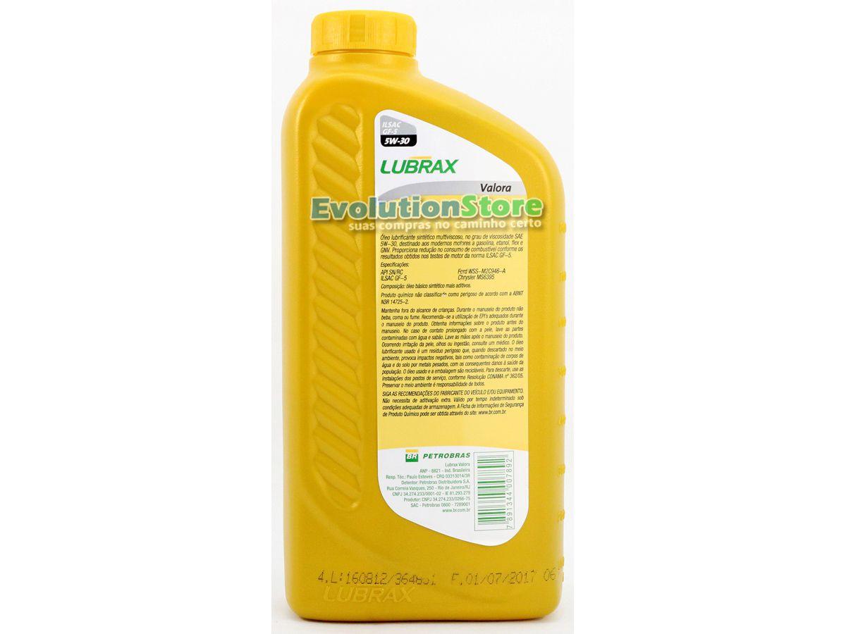 Óleo De Motor 5w30 Sn 100% Sintético Lubrax Valora Petrobras - 1 Litro  - EvolutionStore - Peças e Acessórios Automotivos