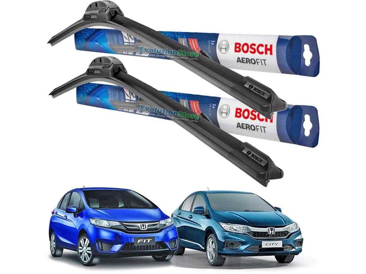 Palheta Limpador Para-brisa Bosch Aerofit Honda City Fit 2015 2016 2017  - EvolutionStore - Peças e Acessórios Automotivos