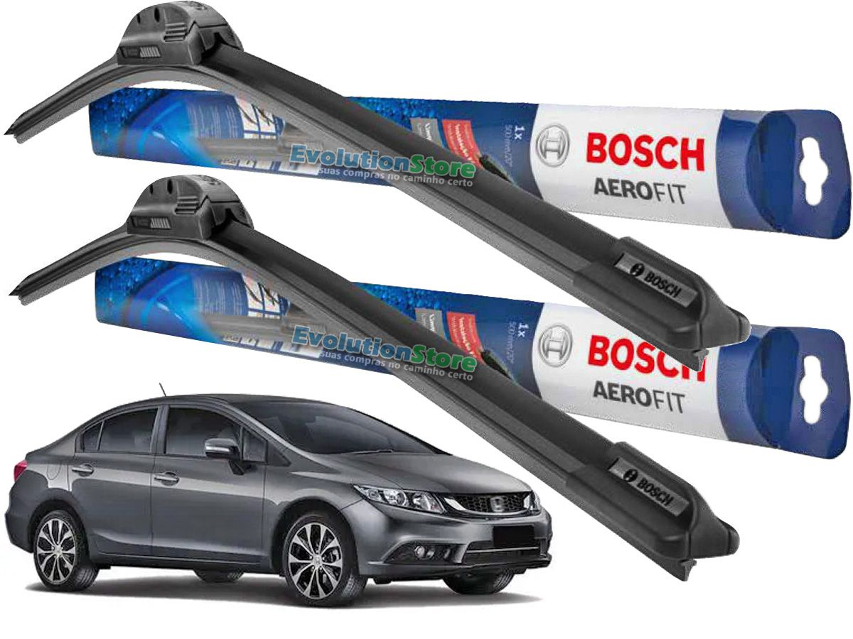 Palheta Limpador Para-brisa Bosch Aerofit Honda Civic 2012 2013 2014 2015 2016  - EvolutionStore - Peças e Acessórios Automotivos
