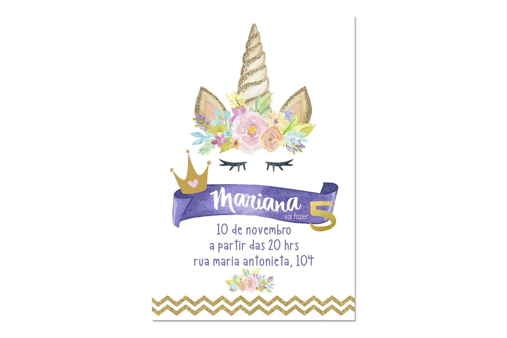 Convite Unicórnio com Envelope