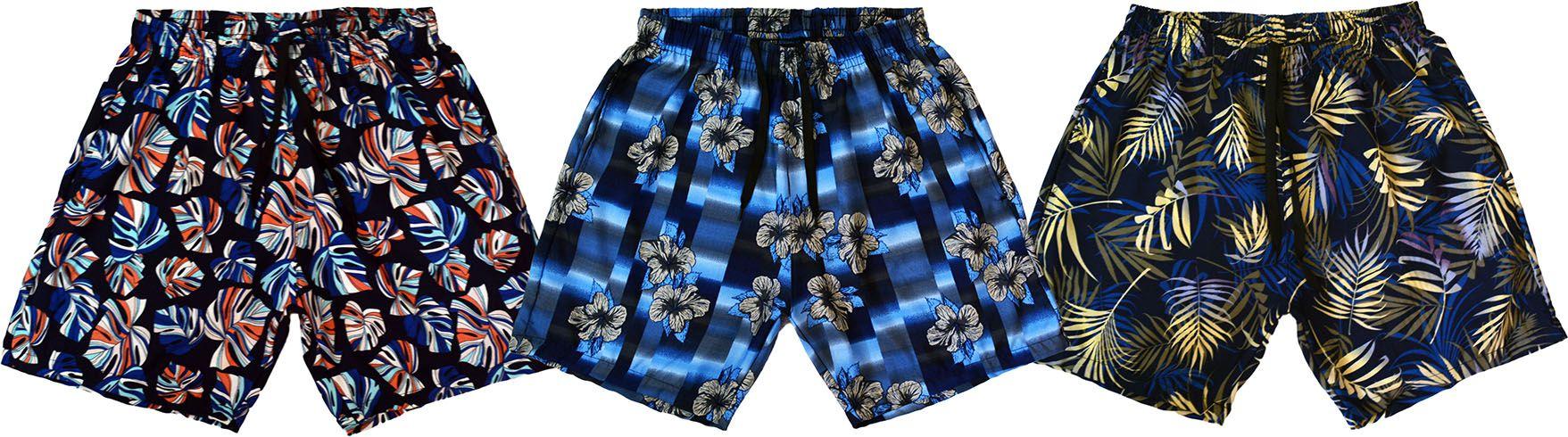 KIT 3 Shorts Masculino Praia Microfibra Estampado Com Bolsos Laterais  Ref.386A.10 - Frent´s c2577bd688d5f