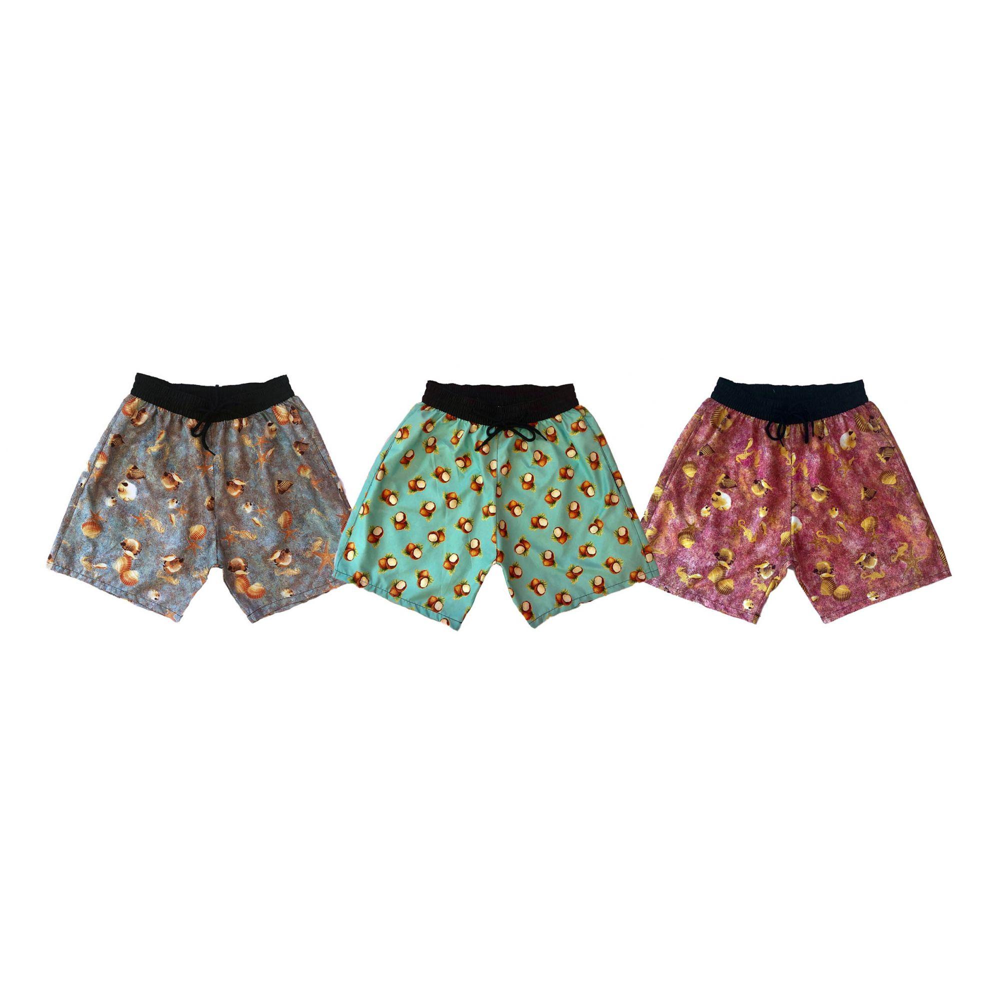 07793333d Kit 3 Shorts Praia Masculino Tactel Estampa Verão Ref.397.3 - Frent´s