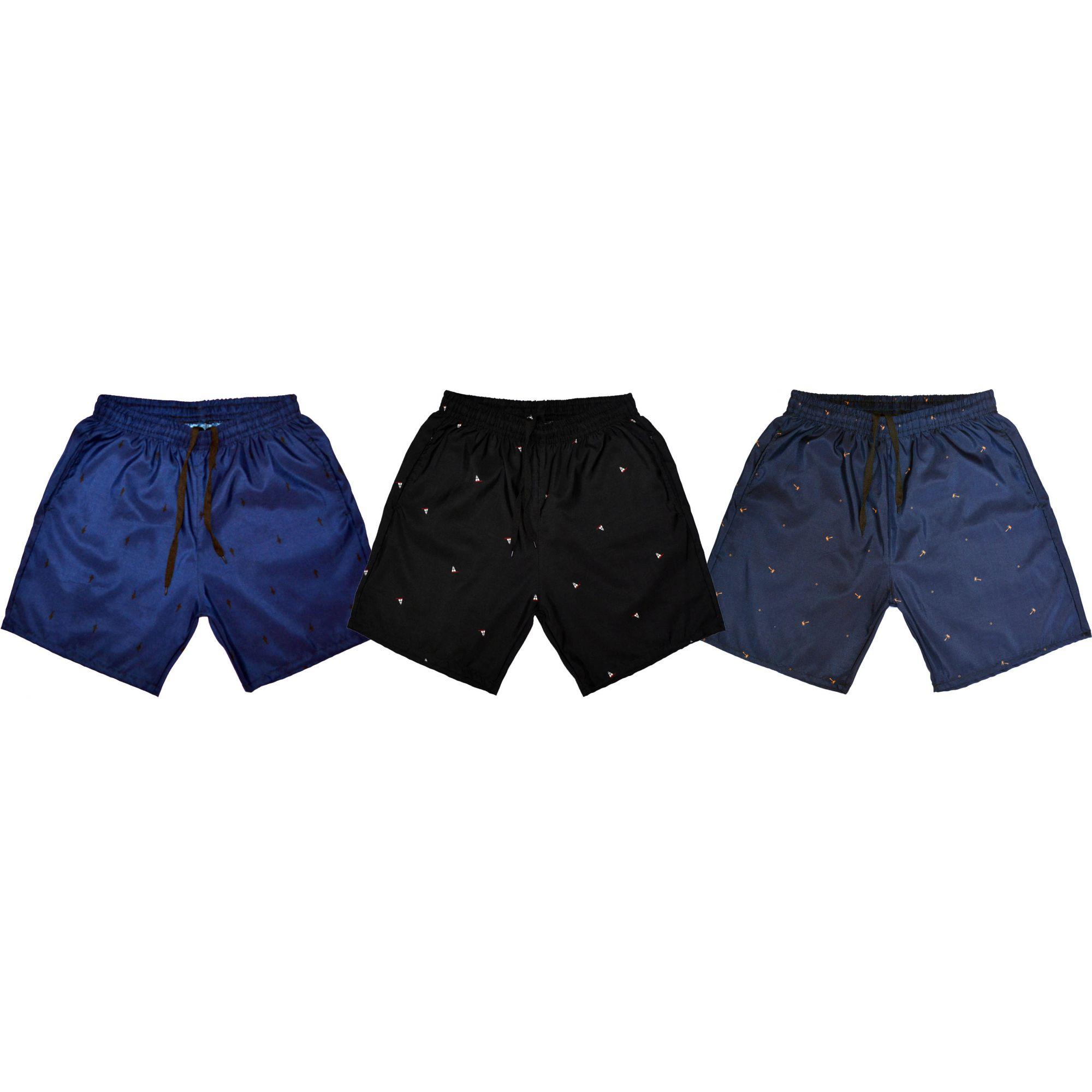 Kit 3 Shorts Praia Microfibra Estampado Masculino Ref.386 - Frent´s ab40eabea8d6a