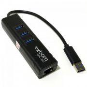 Adaptador PLaca de Rede Gigabit + Hub Usb 3 Portas Usb 3.0 Exbom Uhl-300
