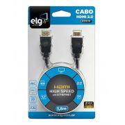 CABO HDMI 2.0 DE 1,8 METROS BANHADO A OUTRO TRIPLA BLINDAGEM - ELG HS1018