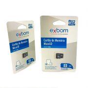 CARTAO DE MEMORIA 8GB MICRO SD (TF ) AMAZENAMENTO DE DADOS EXBOM STGD-TF08G