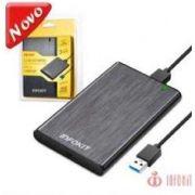 CASE PARA HD 2.5 SATA II USB 3.0 FAST 5GBPS APOIO UASP SUPORTA 3TB BUSSINES EM ALUMINIO ESCOVADO PRETO INFOKIT ECASE-330