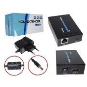 EXTENSOR HDMI 60 METROS X RJ45 CAT5E/CAT-6 3D 1080P bivolt  01826