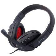 Fone De Ouvido Usb Headset C/ Microfone E Controle Som Preto BOAS BQ-9700