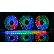 Kit 3 Cooler C/led 120mm Rgb Com Fita Led E Controle Dx-123r