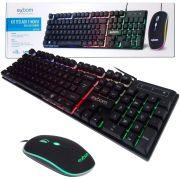 KIT COM FIO USB TECLADO COM MOUSE LED RGB ABNT II - PADRAO BRASILEIRO EXBOM BK-G550