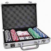 Maleta Kit Jogo Poker 200 Fichas Oficiais, Baralho, Dados